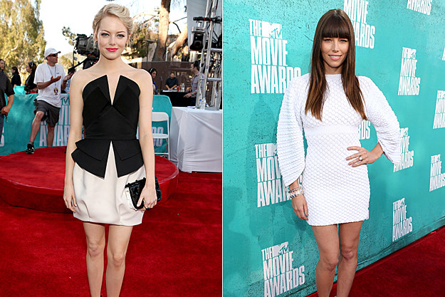 2012 MTV Movie Awards Best Dressed - Emma Stone and Jessica Biel