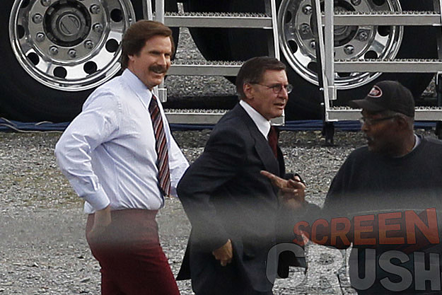 Harrison Ford Anchorman 2 set