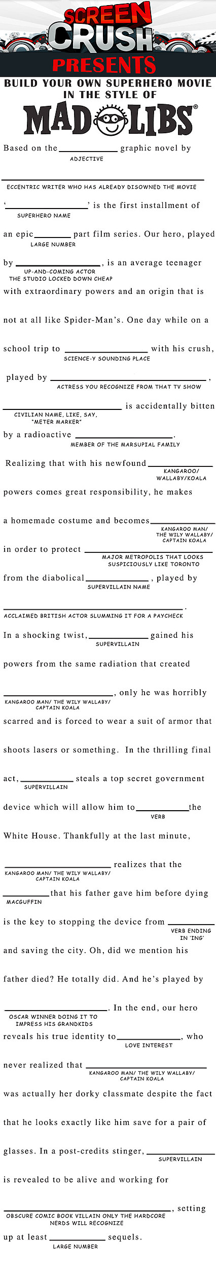 Mad Libs Superhero