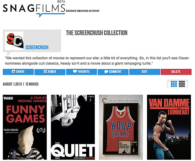 SnagFilms ScreenCrush Collection