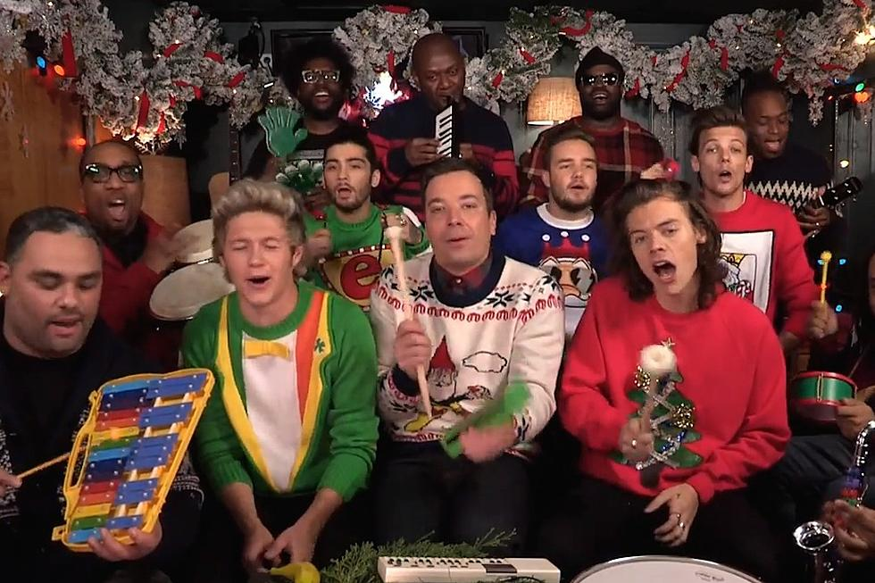 """Watch Jimmy Fallon and One Direction Sing """"Santa Claus Is Coming to ..."""