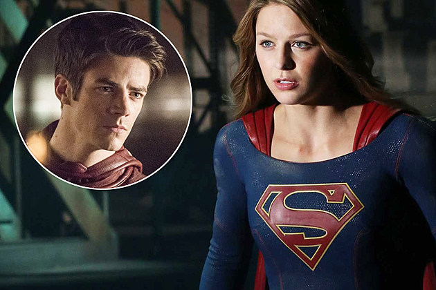 Flash Supergirl Crossover Photo Grant Gustin