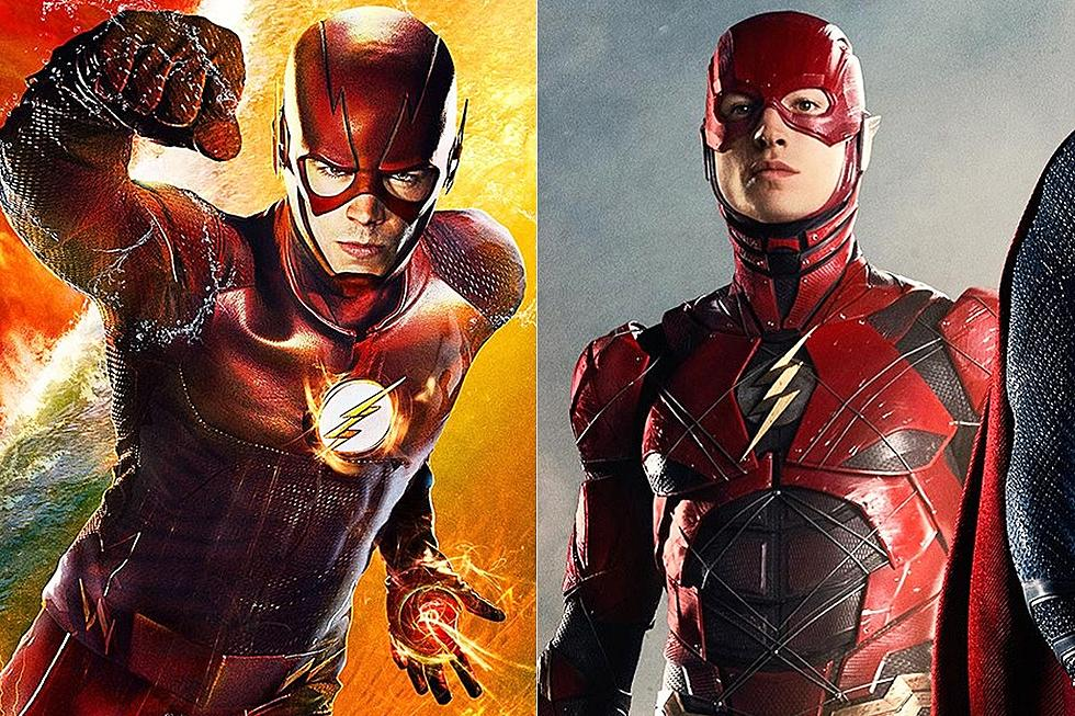 Flash star grant gustin reacts to ezra millers costume flash star grant gustin reacts to ezra millers justice league costume m4hsunfo