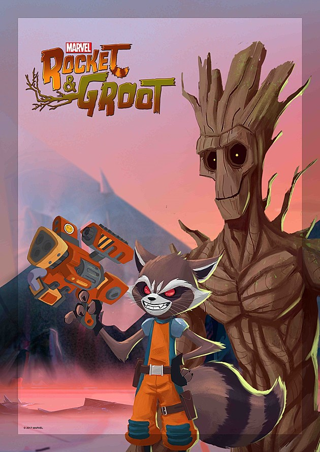 Rocket and Groot Shorts Poster