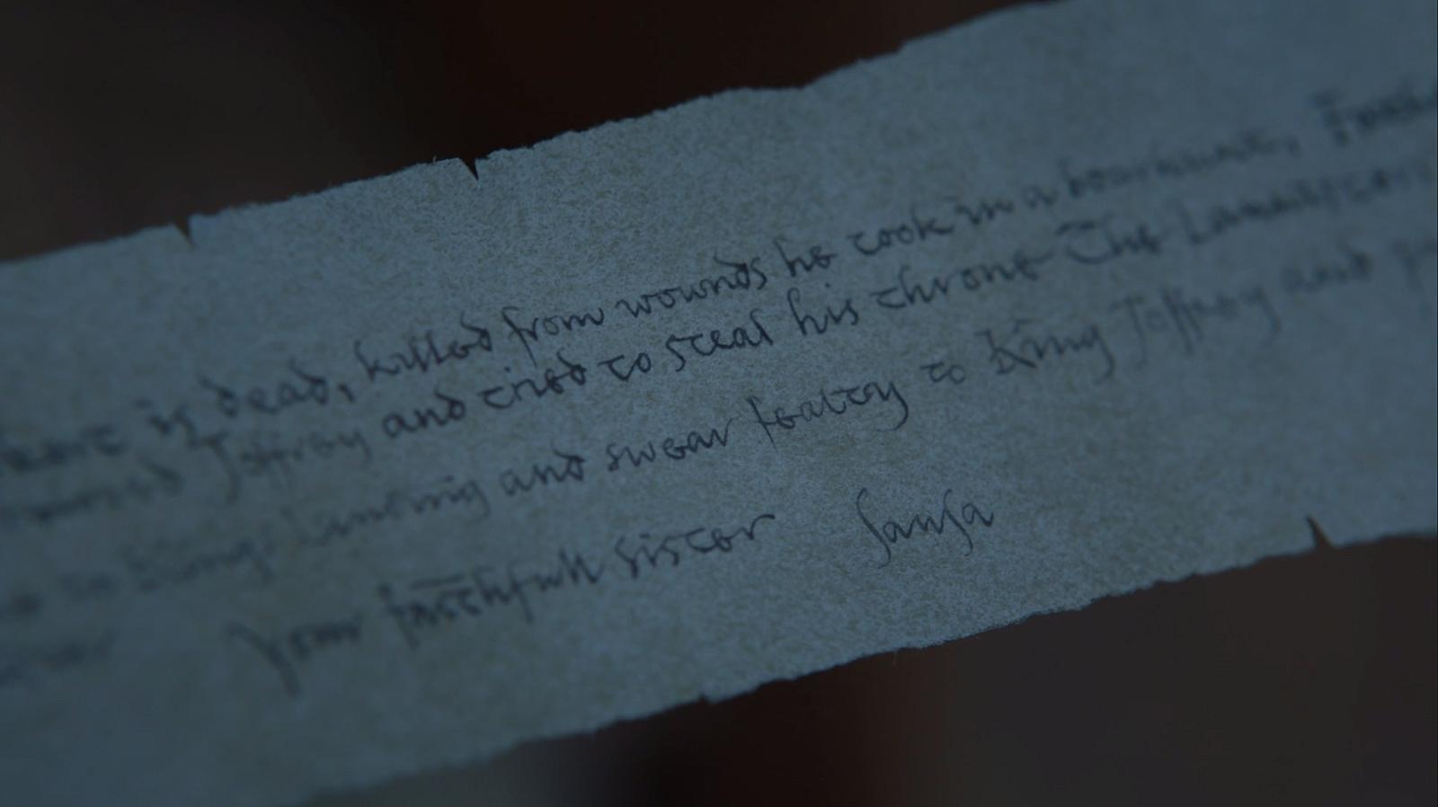 Game Of Thrones Season  Episode  Sansas Letter